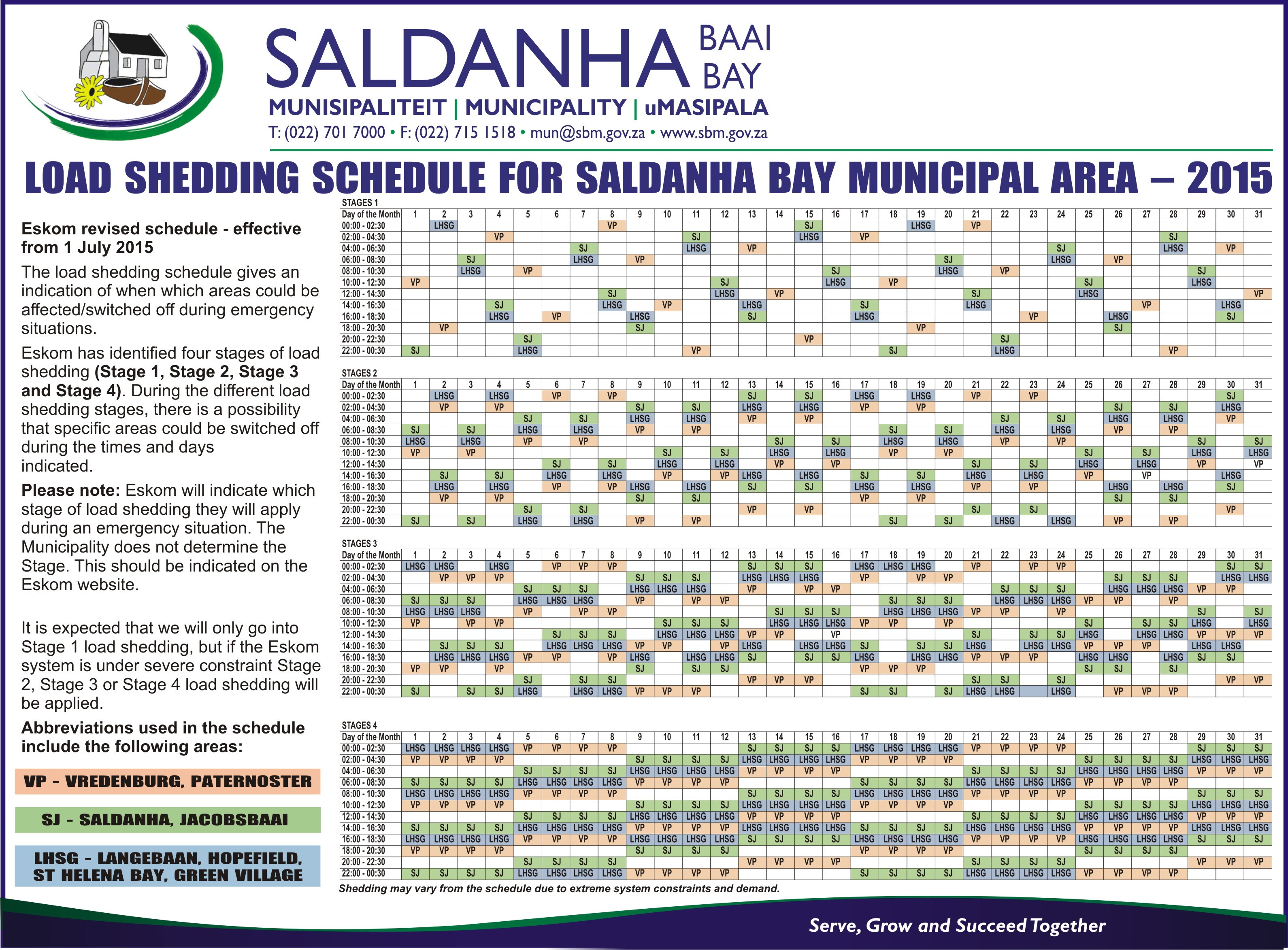Load Shedding Schedule: West Coast Business Directory, Find Accommodation On The